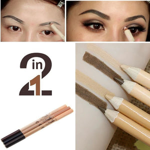 Professional 2 In 1 Double-End Make Up Waterproof Eyebrow Pen + Foundation Base Contour Makeup Face