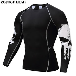 Punisher Compression Shirt Men Breathable Quick Dry T Shirt Bodybuilding Top Crossfit Tee Fitness.