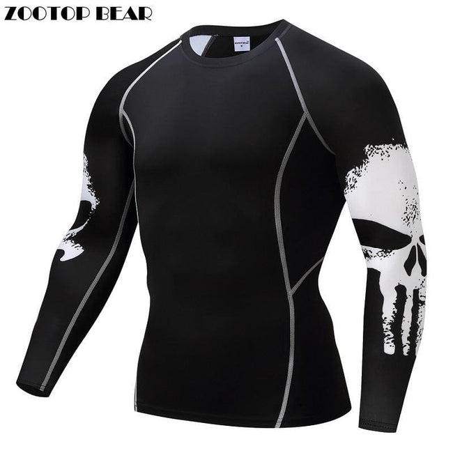 Punisher Compression Shirt Men Breathable Quick Dry T Shirt Bodybuilding Top Crossfit Tee Fitness - MBMCITY
