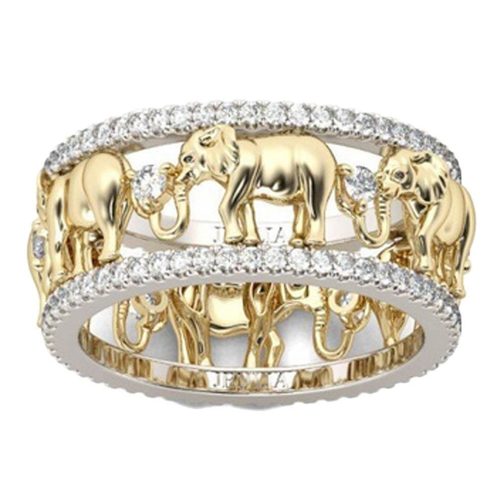 Pure Copper Antique  Gold Color  Lucky 3D  Elephant Ring  Romantic   Zircon  Ring   For Man/Woman - MBMCITY