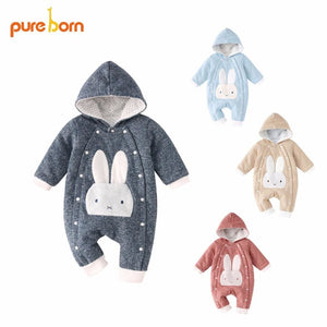 Pureborn Baby Romper Cartoon Rabbit Baby Clothes 2018 Cotton Jumpsuit Newborn Hooded Overall Baby