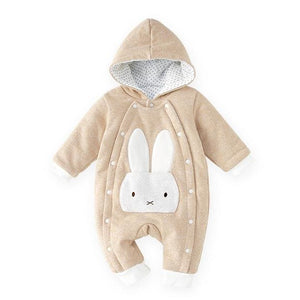 Pureborn Baby Romper Cartoon Rabbit Baby Clothes 2018 Cotton Jumpsuit Newborn Hooded Overall Baby Pink Fox / 24M