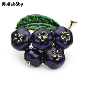 Purple Enamel Blueberry Brooches Women Mens Alloy Plant Brooch Pins Girls Hat Bag Broche Badge