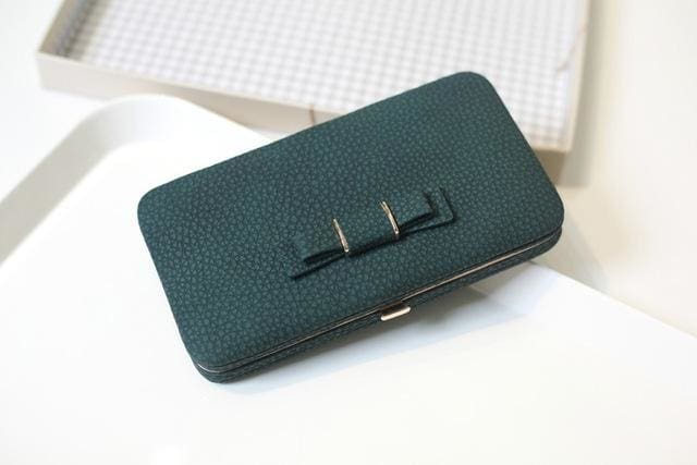 Purse wallet female famous brand card holders cellphone pocket gifts for women money bag clutch 505 dark green
