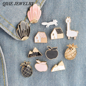 Qihe Jewelry 1 Set Pineapple Apple Alpaca Fox Flowers Houses Metal Cute Enamel Pin Set Fashion