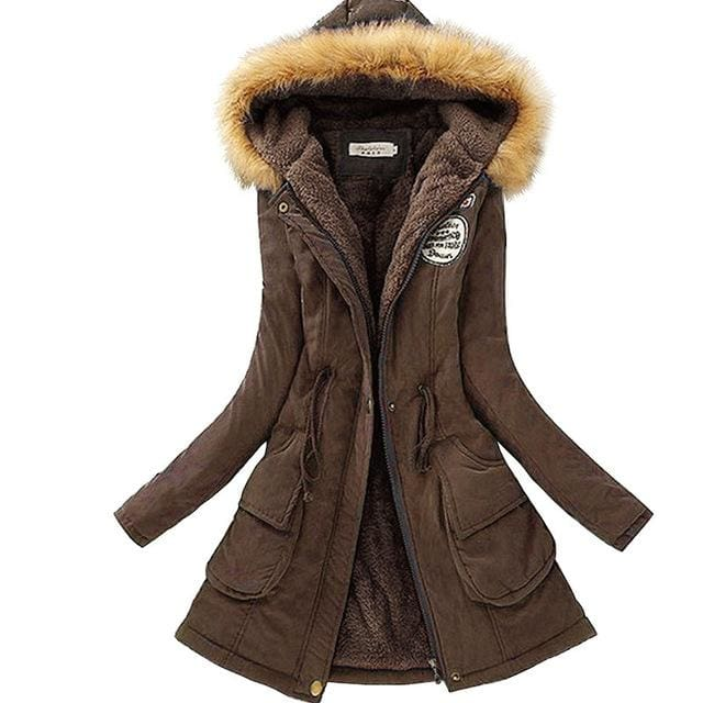 Qiuxuan Women Parka Fashion Autumn Winter Warm Jackets Women Fur Collar Coats Long Parkas Hoodies Dark Brown / Xxl