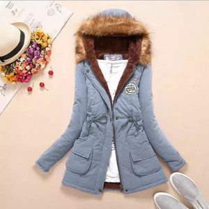 Qiuxuan Women Parka Fashion Autumn Winter Warm Jackets Women Fur Collar Coats Long Parkas Hoodies Light Blue / Xxl