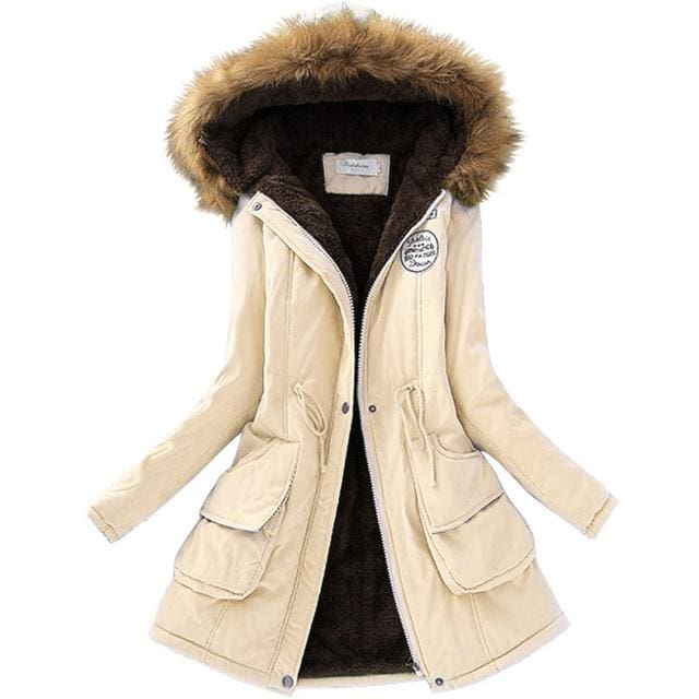 Qiuxuan Women Parka Fashion Autumn Winter Warm Jackets Women Fur Collar Coats Long Parkas Hoodies Cream / Xxl