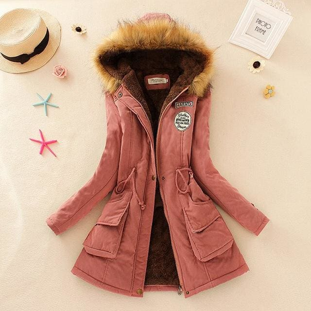 Qiuxuan Women Parka Fashion Autumn Winter Warm Jackets Women Fur Collar Coats Long Parkas Hoodies Pink / Xxl