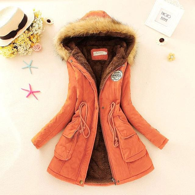 Qiuxuan Women Parka Fashion Autumn Winter Warm Jackets Women Fur Collar Coats Long Parkas Hoodies Orange / Xxl