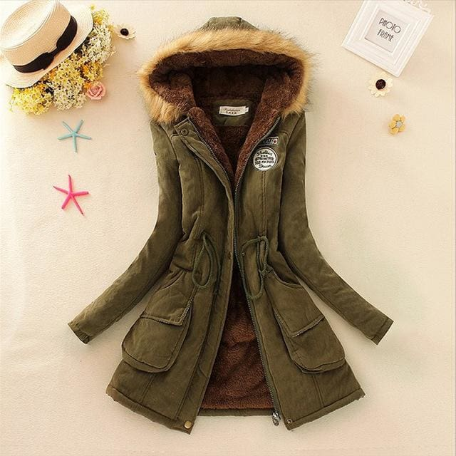 Qiuxuan Women Parka Fashion Autumn Winter Warm Jackets Women Fur Collar Coats Long Parkas Hoodies Army Green / Xxl