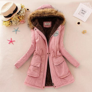 Qiuxuan Women Parka Fashion Autumn Winter Warm Jackets Women Fur Collar Coats Long Parkas Hoodies Light Pink / Xxl