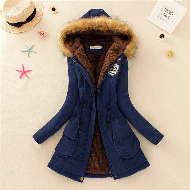 Qiuxuan Women Parka Fashion Autumn Winter Warm Jackets Women Fur Collar Coats Long Parkas Hoodies Navy Blue / Xxl