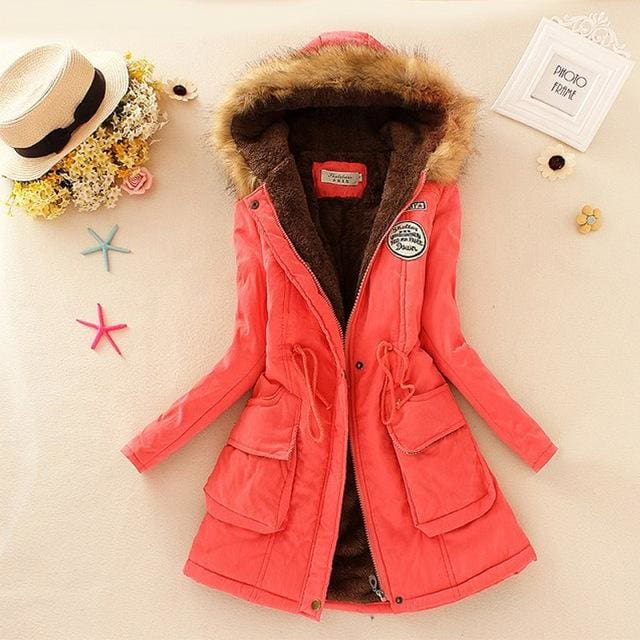 Qiuxuan Women Parka Fashion Autumn Winter Warm Jackets Women Fur Collar Coats Long Parkas Hoodies Watermelon / Xxl