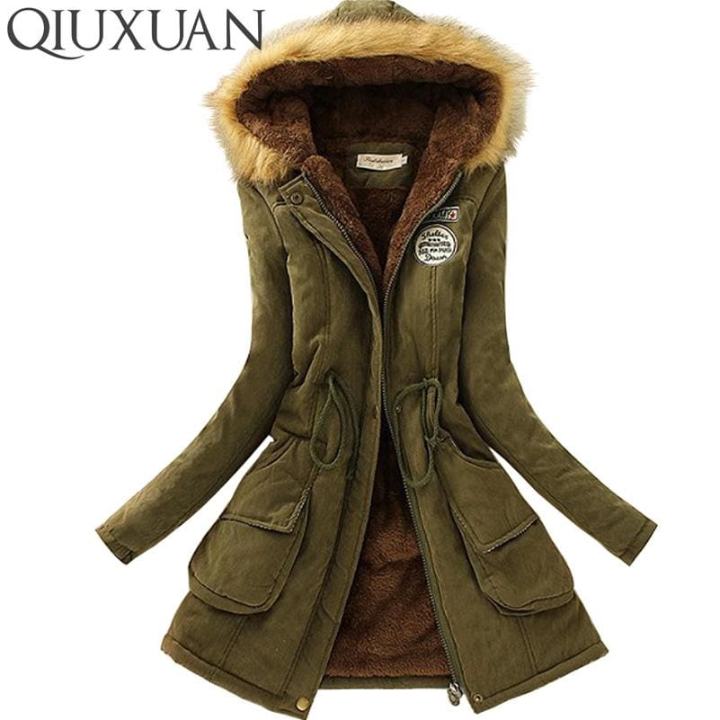 Qiuxuan Women Parka Fashion Autumn Winter Warm Jackets Women Fur Collar Coats Long Parkas Hoodies