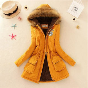 Qiuxuan Women Parka Fashion Autumn Winter Warm Jackets Women Fur Collar Coats Long Parkas Hoodies Yellow / Xxl