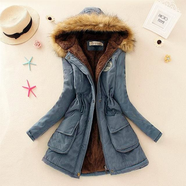 Qiuxuan Women Parka Fashion Autumn Winter Warm Jackets Women Fur Collar Coats Long Parkas Hoodies Steel Blue / Xxl