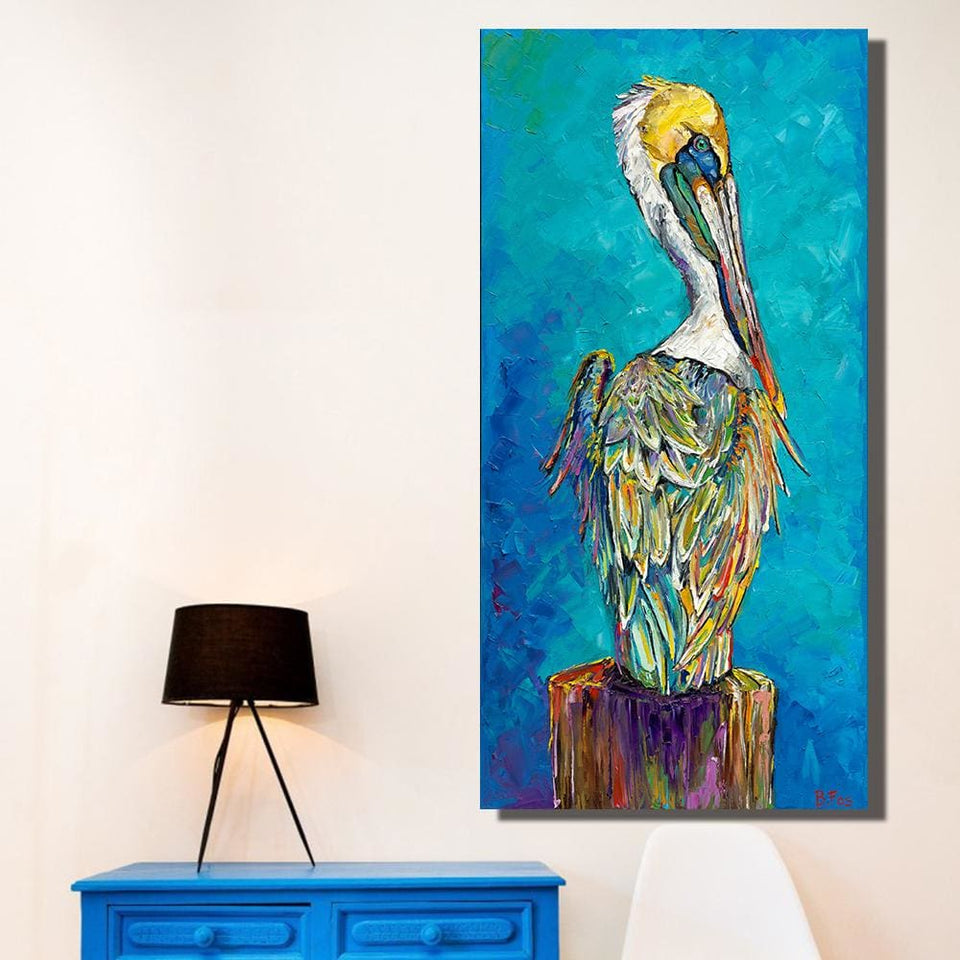 Qkart Home Decor Wall Art Blue Animal Oil Painting On Canvas Picture Wall Paintings For Living Room