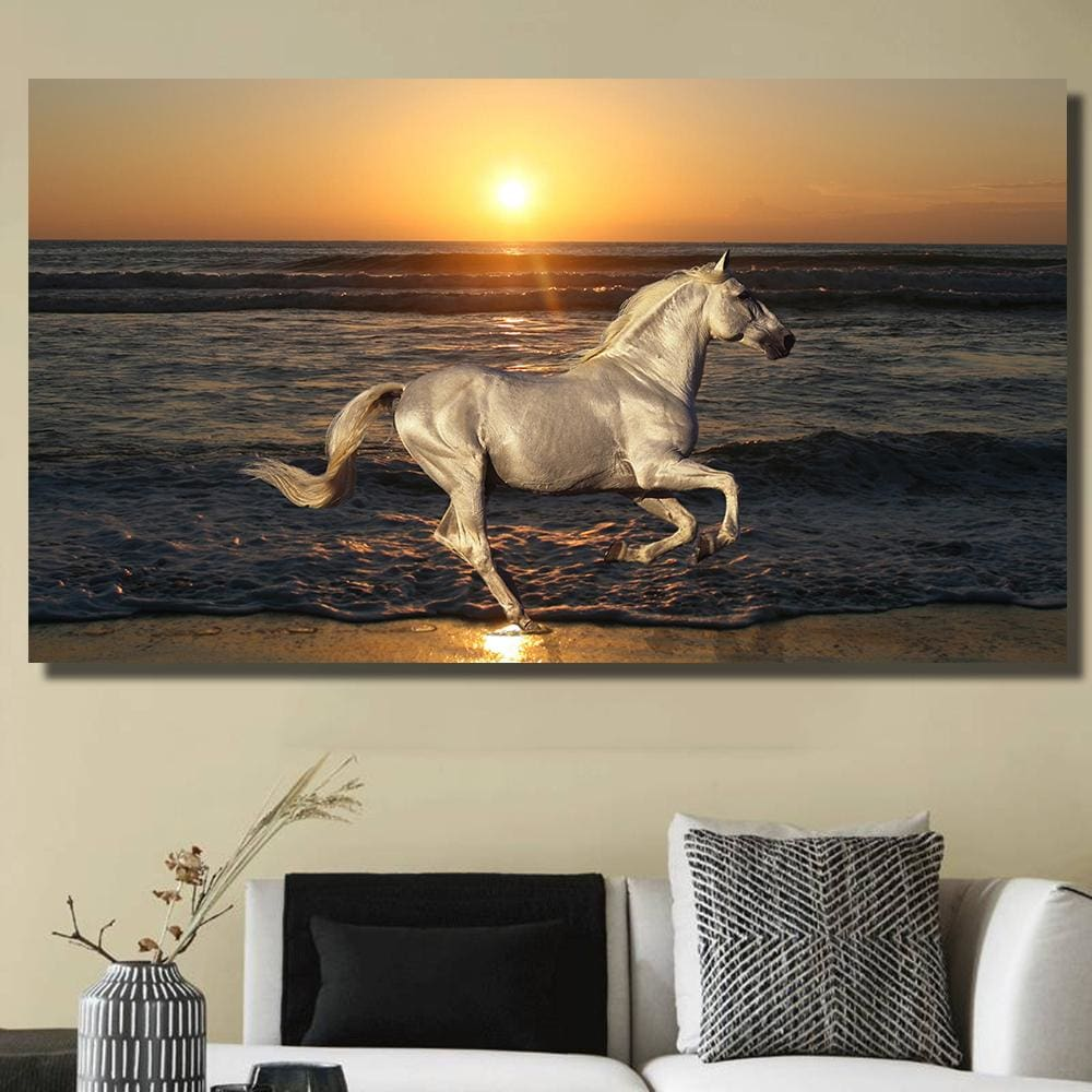 Qkart Modern Canvas Oil Painting Nature Stallion Horse Animals Rides Sea Posters And Prints No