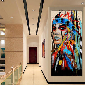 Qkart Wall Art Canvas Pictures For Living Room Indian Woman Feathered Pride Painting Canvas Wall
