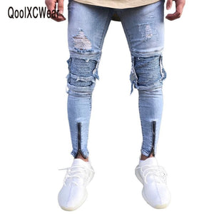 Qoolxcwear Brand Designer Slim Fit Ripped Jeans Men Hi-Street Mens Distressed Denim Joggers Knee
