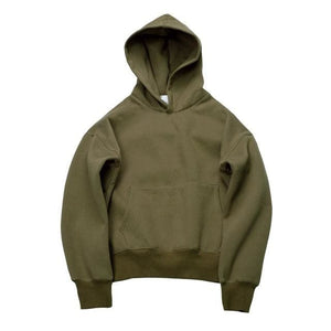 Qoolxcwear Very Good Quality Nice Hip Hop Hoodies With Fleece Warm Winter Mens Kanye West Hoodie Olive Color / S