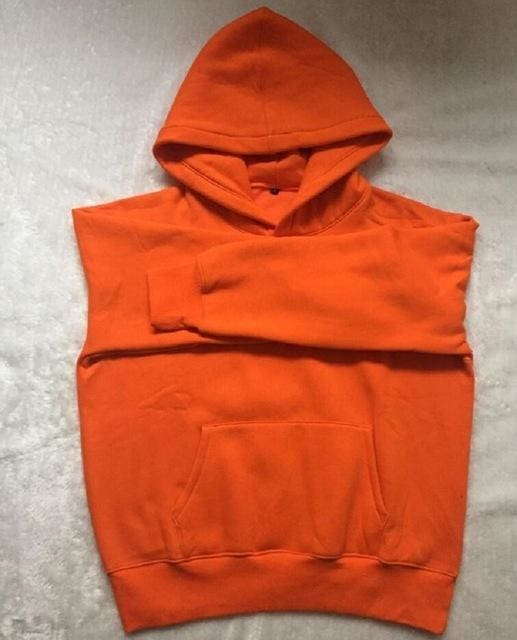 Qoolxcwear Very Good Quality Nice Hip Hop Hoodies With Fleece Warm Winter Mens Kanye West Hoodie Orange / S