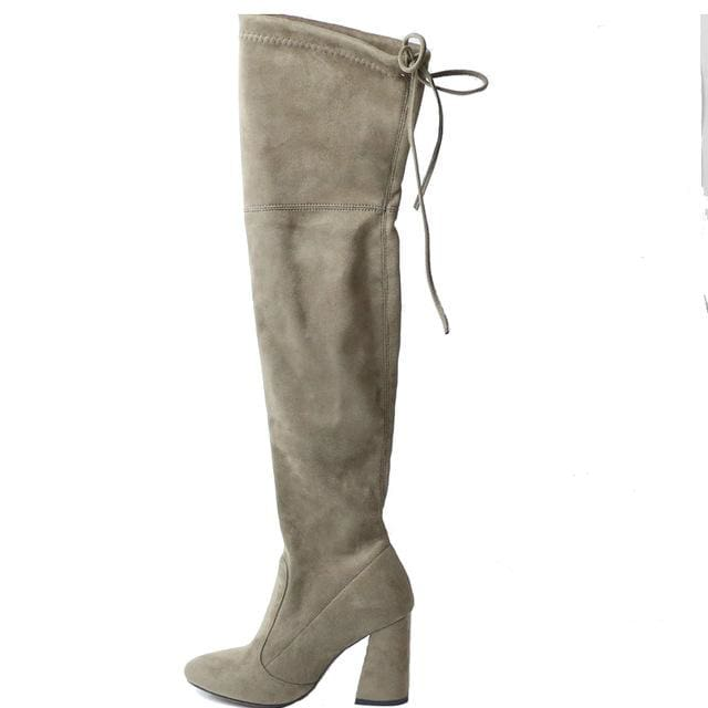 QUTAA 2017 NEW Sucrb Leather  Women Over The Knee Boots  Lace Up Sexy  Hoof  Heels Women Shoes