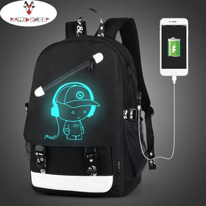 Raged Sheep Boys School Backpack Student Luminous Animation USB Charge Changeover Joint School Bags