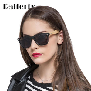Ralferty 2017 Retro Bamboo Sunglasses Women Men Mirrored Wooden Frame Sun Glasses Anti UV Goggles