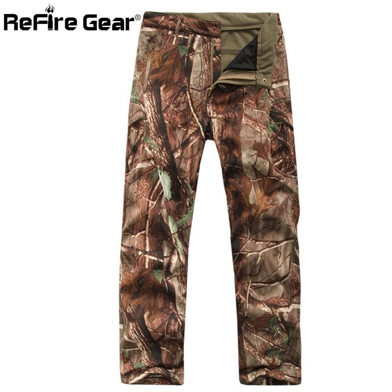 ReFire Gear Winter Shark Skin Soft Shell Tactical Military Camouflage Pants Men Windproof Waterproof.
