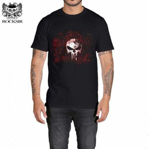 Rocksir punisher t shirts for men t shirt Cotton fashion brand t shirt men Casual Short Sleeves the GXBDY164BK / L