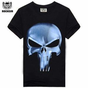 Rocksir Punisher T Shirts For Men T Shirt Cotton Fashion Brand T Shirt Men Casual Short Sleeves The