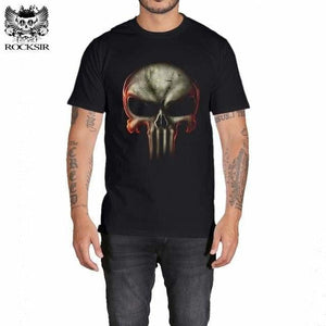 Rocksir Punisher T Shirts For Men T Shirt Cotton Fashion Brand T Shirt Men Casual Short Sleeves The Gxbdy163Bk / L
