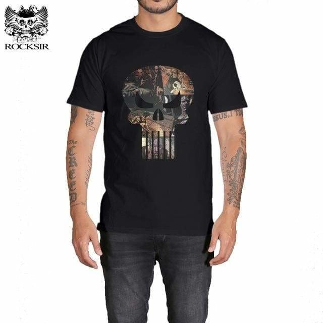Rocksir punisher t shirts for men t shirt Cotton fashion brand t shirt men Casual Short Sleeves the GXBDY161BK / L