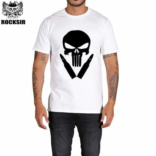 Rocksir Punisher T Shirts For Men T Shirt Cotton Fashion Brand T Shirt Men Casual Short Sleeves The Gxbdy159Wt / L