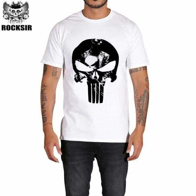 Rocksir Punisher T Shirts For Men T Shirt Cotton Fashion Brand T Shirt Men Casual Short Sleeves The Gxbdy158Wt / L