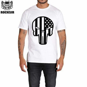 Rocksir punisher t shirts for men t shirt Cotton fashion brand t shirt men Casual Short Sleeves the GXBDY160WT / L