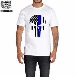 Rocksir punisher t shirts for men t shirt Cotton fashion brand t shirt men Casual Short Sleeves the GXBDY148WT / L