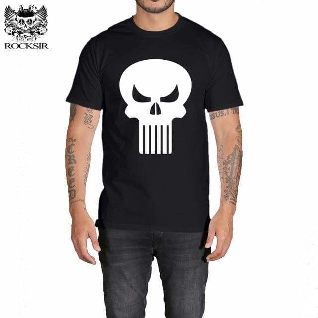 Rocksir Punisher T Shirts For Men T Shirt Cotton Fashion Brand T Shirt Men Casual Short Sleeves The Gxbdy165Bk / L