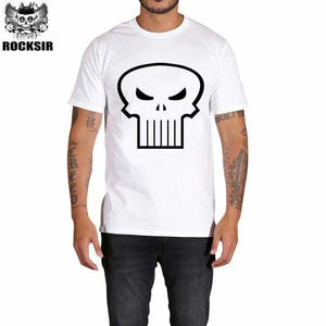 Rocksir punisher t shirts for men t shirt Cotton fashion brand t shirt men Casual Short Sleeves the GXBDY162WT / L