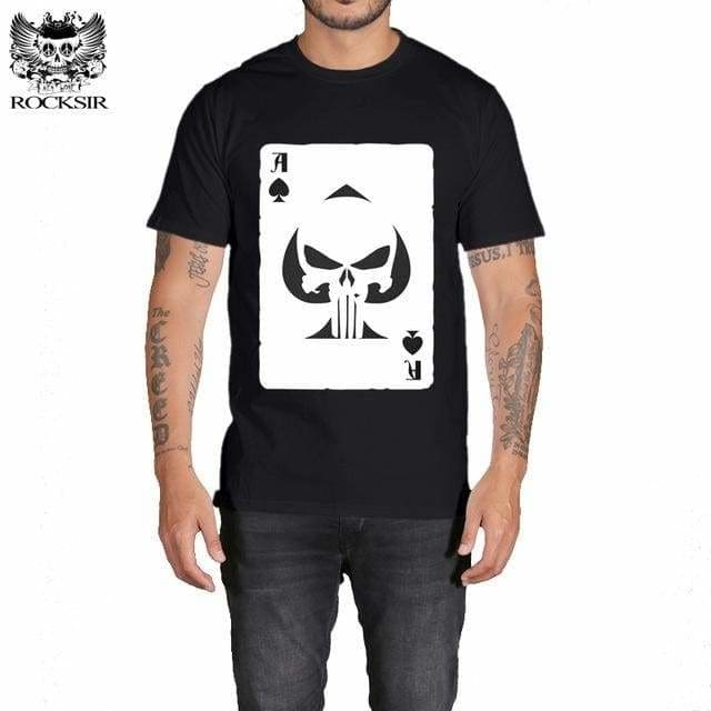 Rocksir Punisher T Shirts For Men T Shirt Cotton Fashion Brand T Shirt Men Casual Short Sleeves The Gxbdy152Bk / L
