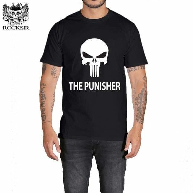 Rocksir Punisher T Shirts For Men T Shirt Cotton Fashion Brand T Shirt Men Casual Short Sleeves The Gxbdy155Bk / L
