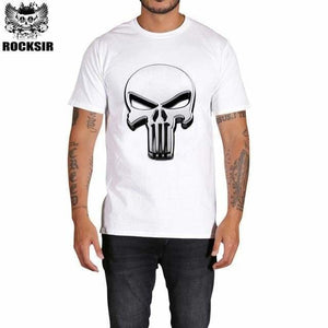 Rocksir Punisher T Shirts For Men T Shirt Cotton Fashion Brand T Shirt Men Casual Short Sleeves The Gxbdy157Wt / L