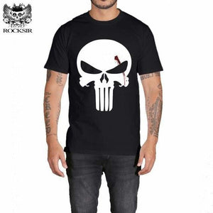 Rocksir Punisher T Shirts For Men T Shirt Cotton Fashion Brand T Shirt Men Casual Short Sleeves The Gxbdy154Bk / L