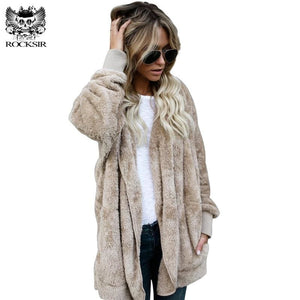 Rocksir Women Fuzzy Fleece Jacket Overcoat 2017 Winter Loose Open Stitch Hooded Cardigan Coats