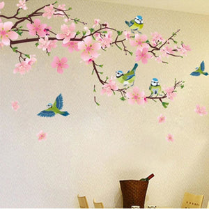 Romantic Peach Blossom And Swallow Pvc Removable Room Decal Art Diy Wall Sticker Home Decor Hot Sell