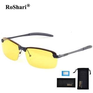 RoShari Men Glasses Car Drivers Night Vision Goggles Anti-Glare Sun glasses men Polarized Driving Black and Yellows