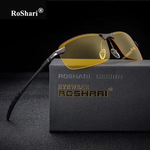 Roshari Men Glasses Car Drivers Night Vision Goggles Anti-Glare Sun Glasses Men Polarized Driving