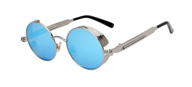 Round Metal Sunglasses Steampunk Men Women Fashion Glasses Brand Designer Retro Vintage Sunglasses Silver w blue mir